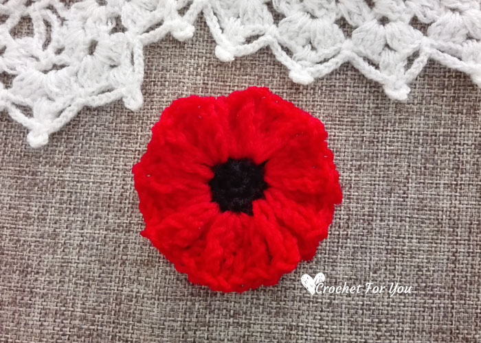 Crochet Poppy Flower Free Pattern