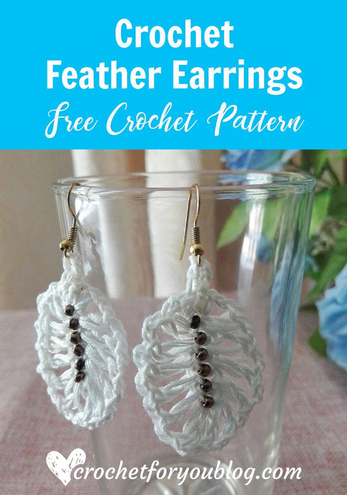 Crochet Feather Earrings Free Pattern Crochet For You