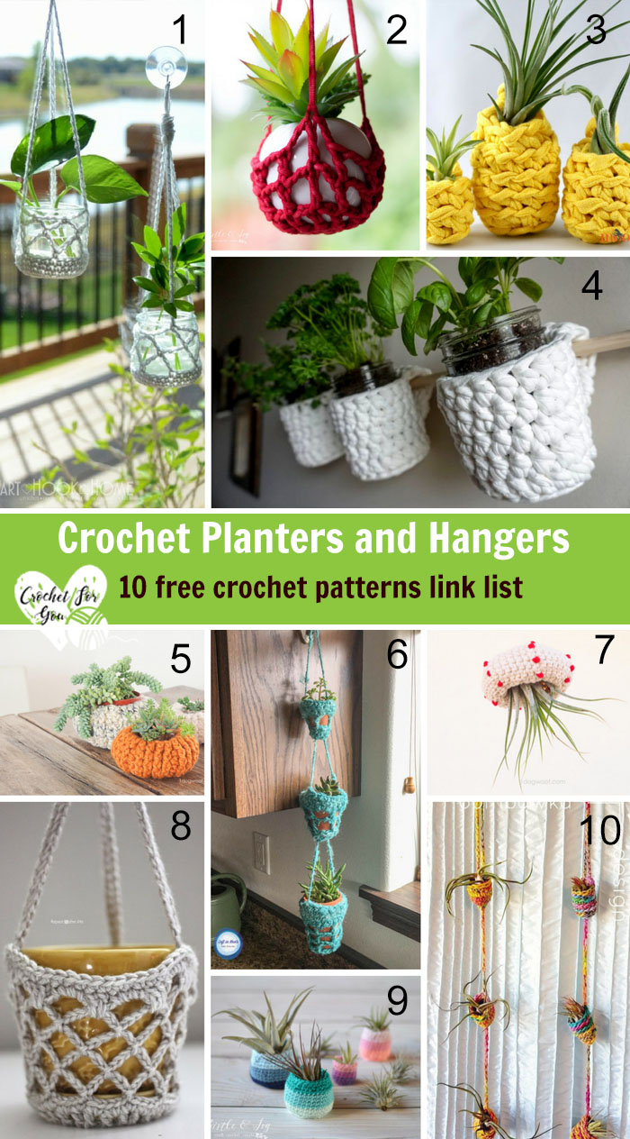 Crochet Planters and Hangers 10 Free Pattern Link List - Crochet For You