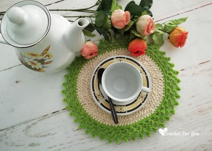 Crochet Oval Table Mat With Jute Hemp Free Pattern Crochet For You