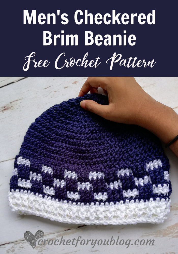 Mens Checkered Brim Beanie Free Crochet Pattern Crochet For You