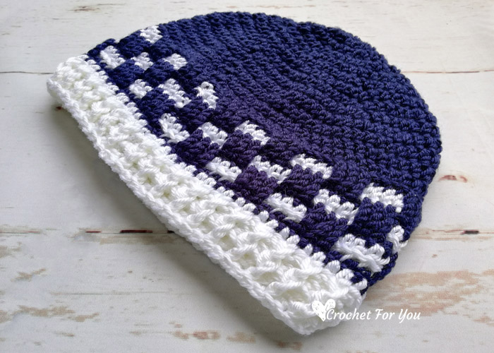 Men's Checkered Brim Beanie - free crochet pattern