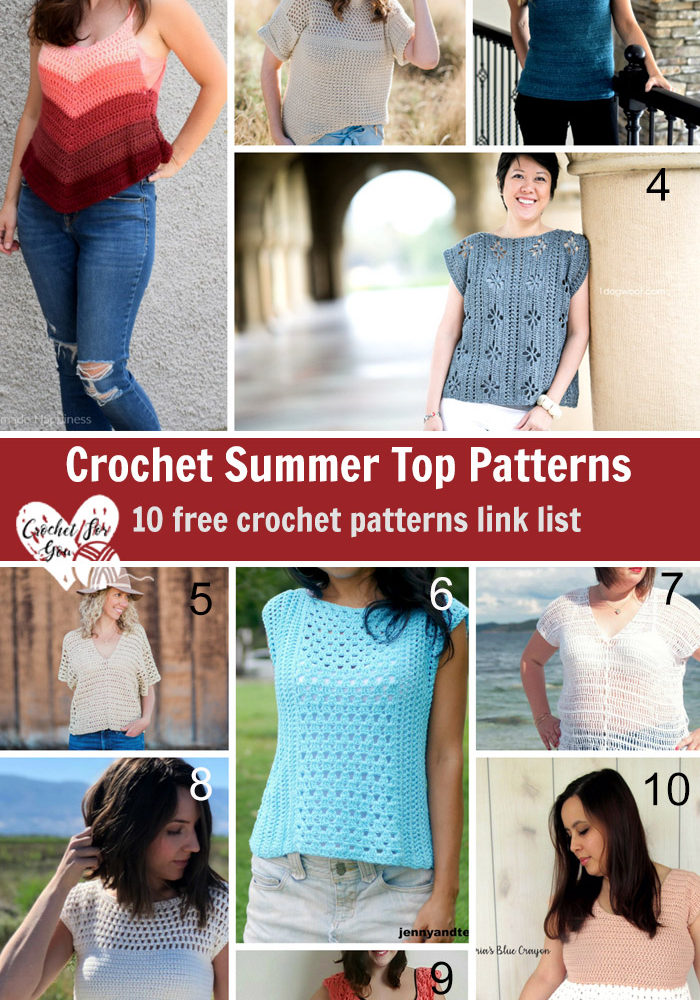 Crochet Summer Top Patterns - 10 Free Pattern Link List
