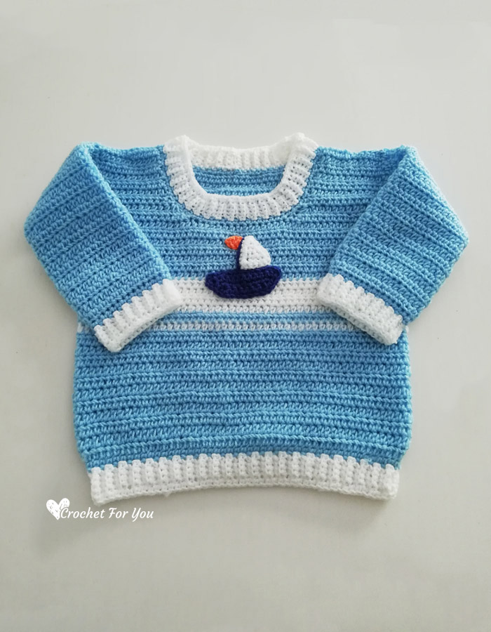 Crochet Set Sail Baby Sweater Free Pattern 2 Crochet For You