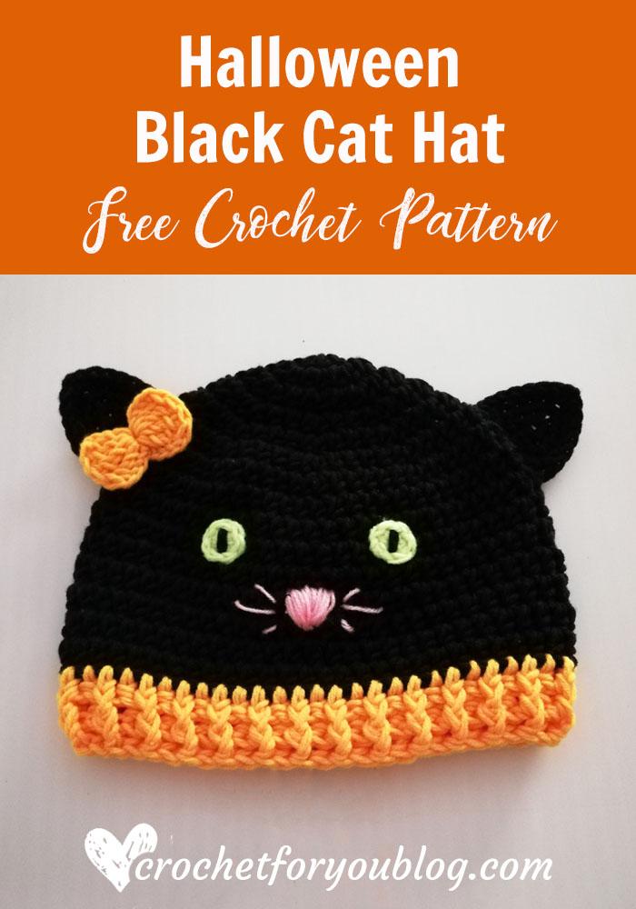 Crochet Halloween Black Cat Hat Free Pattern Crochet For You