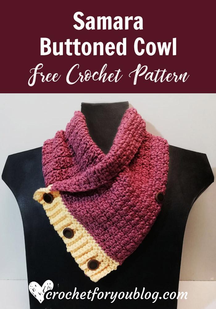 Crochet Samara Buttoned Cowl Free Pattern