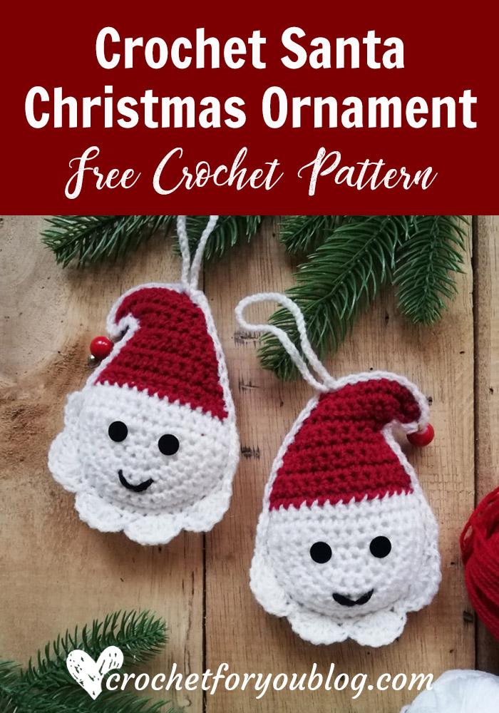 Crochet Santa Christmas Ornament Free Pattern Crochet For You