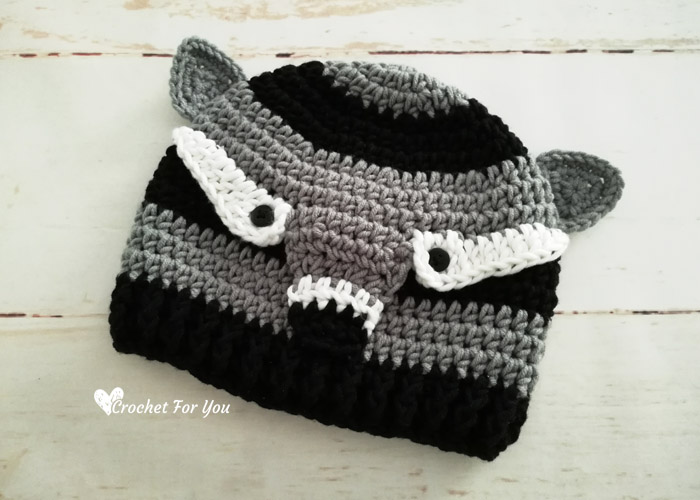 Crochet Woodland Raccoon Hat Free Pattern