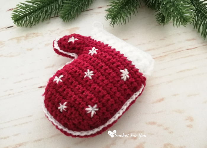 Crochet Mittens Christmas Ornament Free Pattern