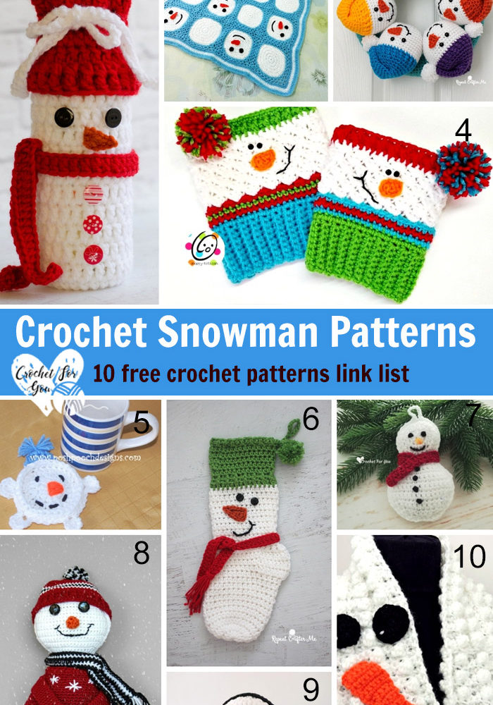 Crochet Snowman Patterns - 10 free crochet pattern link list