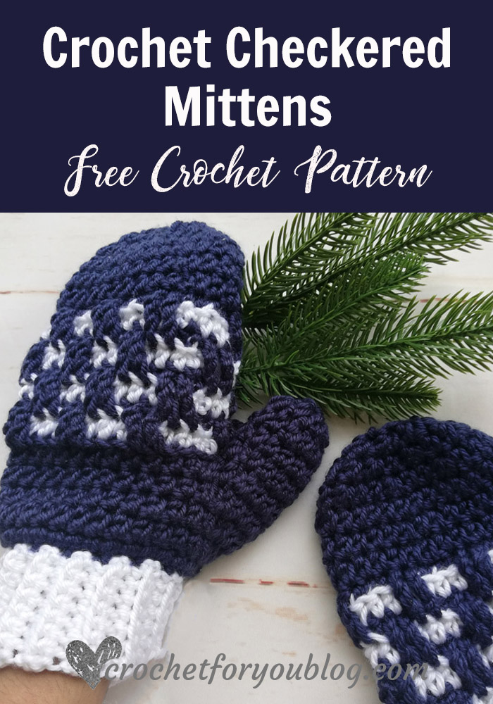 Crochet Checkered Mittens Free Pattern Crochet For You