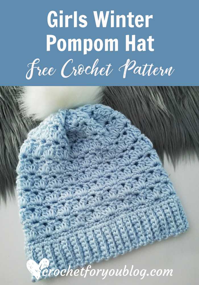 336a59d5f29 Girls Winter Pompom Hat Free Crochet Pattern - Crochet For You