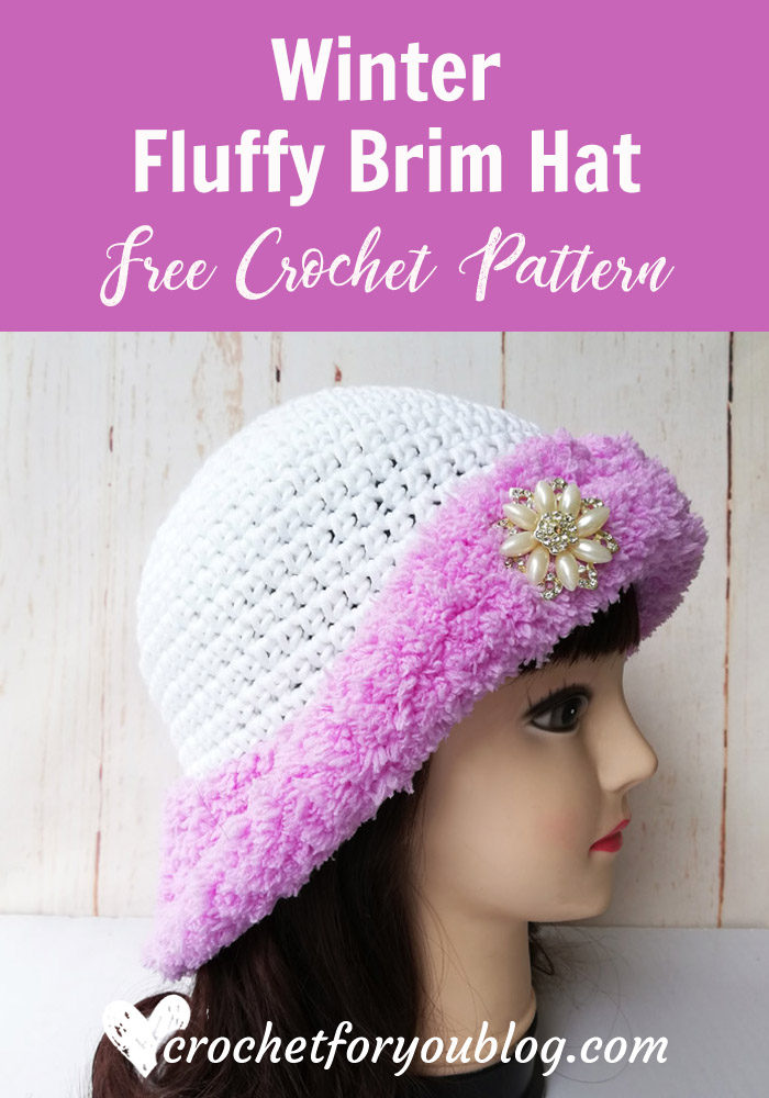 Winter Fluffy Brim Hat Free Crochet Pattern