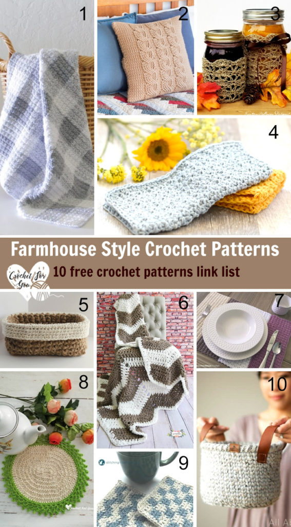 Farmhouse Style Crochet Patterns - 10 free crochet pattern link list