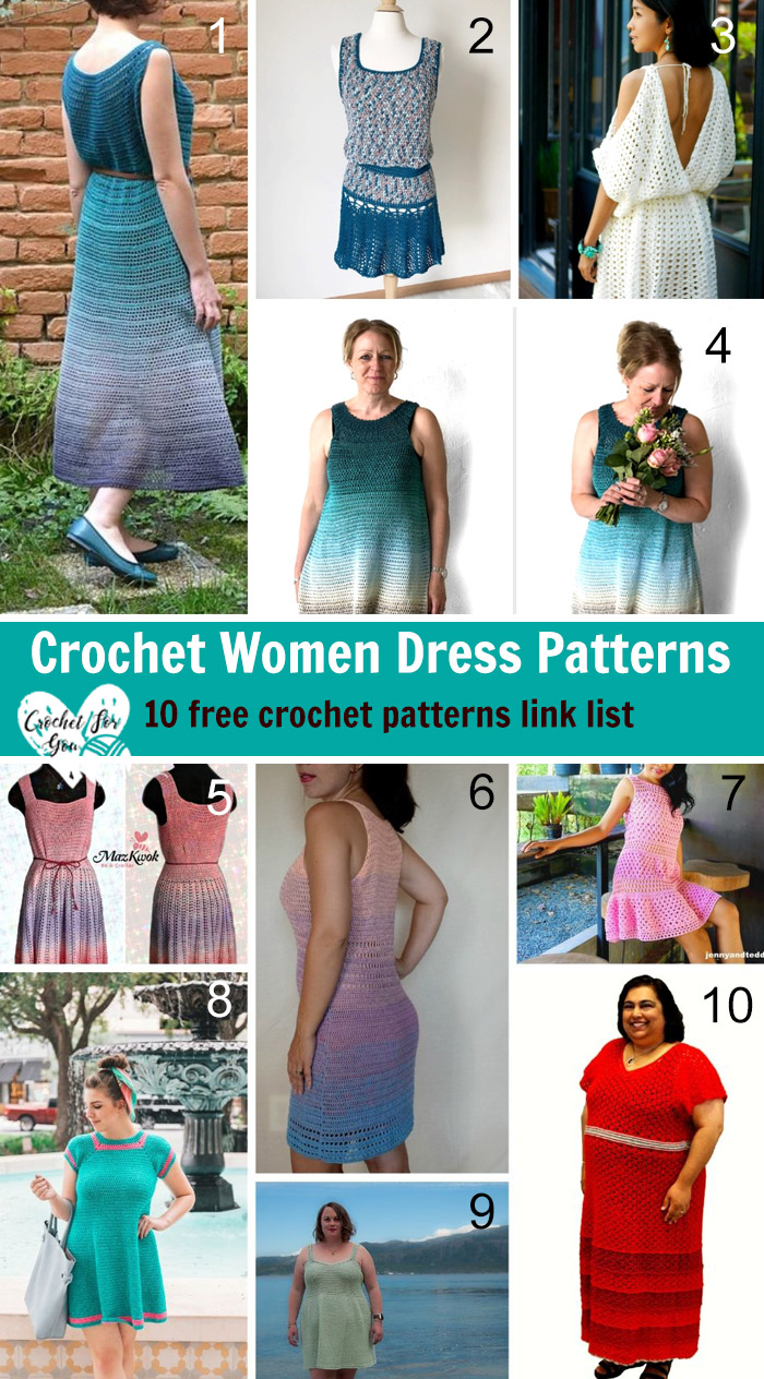 Crochet Women Dress Patterns 10 Free Crochet Patterns Link List