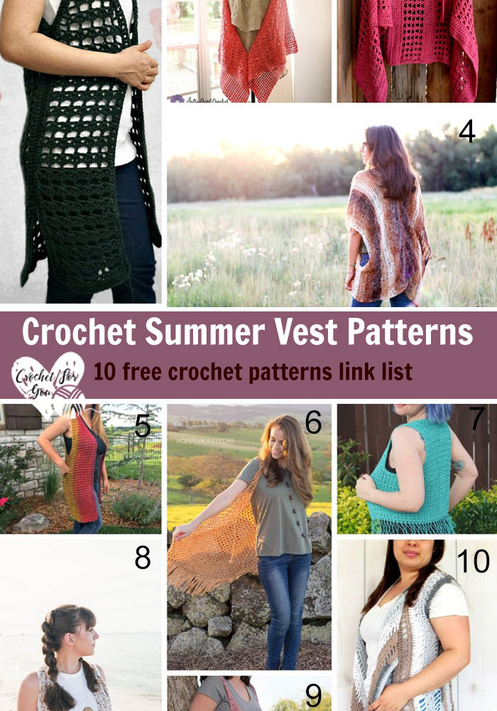 Crochet Summer Vest Patterns - 10 free crochet pattern link list