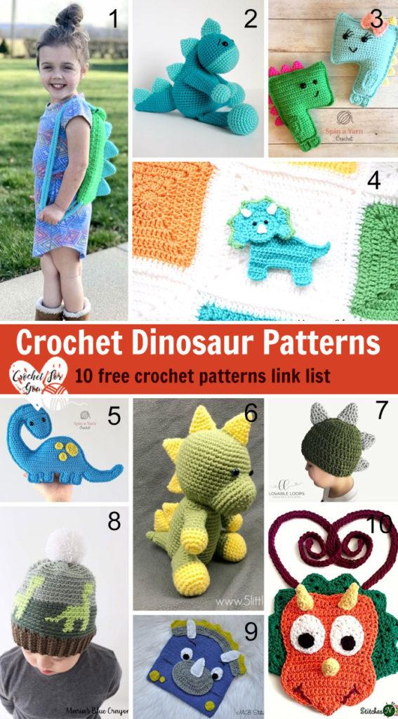 Crochet Dinosaur Patterns – 10 free crochet pattern link list
