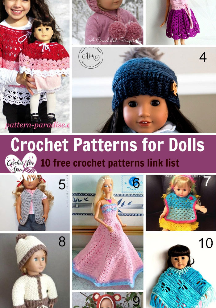 Crochet Patterns for Dolls - 10 free crochet patterns link list