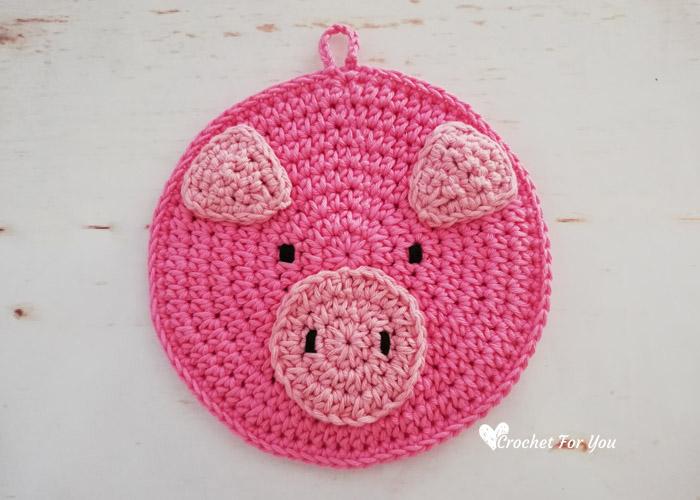 Crochet Pig Potholder Free Pattern - Crochet For You
