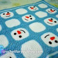 Crochet Snowman Granny Squares Blanket - free pattern