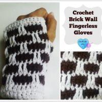 Crochet Bricks wall fingerless gloves - free pattern