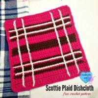 Crochet Scottie Plaid Dishcloth - free pattern