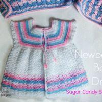 Crochet Newborn Baby Dress Sugar Candy Stripes - free pattern
