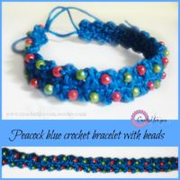 Peacock blue crochet bracelet with beads - free pattern