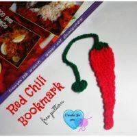 Crochet Red Chili Bookmark - free pattern