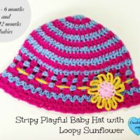 Stripy Playful Baby Hat with Loopy Sunflower -free crochet pattern