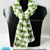 Spring Green! A Lacy Crochet Mesh Scarf 4