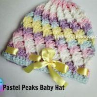 Pastel Peaks Baby Hat - free crochet pattern